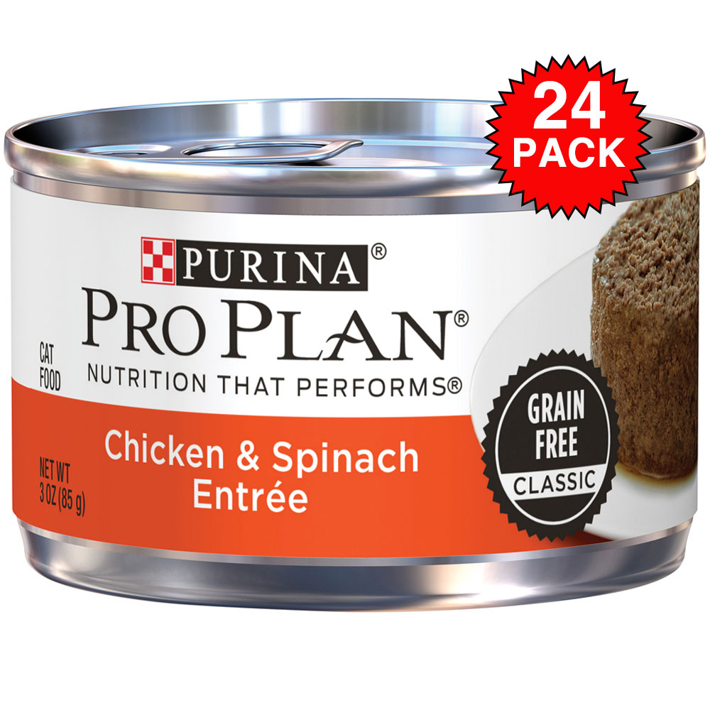 Purina Pro Plan Classic Grain Free - Chicken & Spinach Entre Canned Adult Cat Food (24x3oz) im test