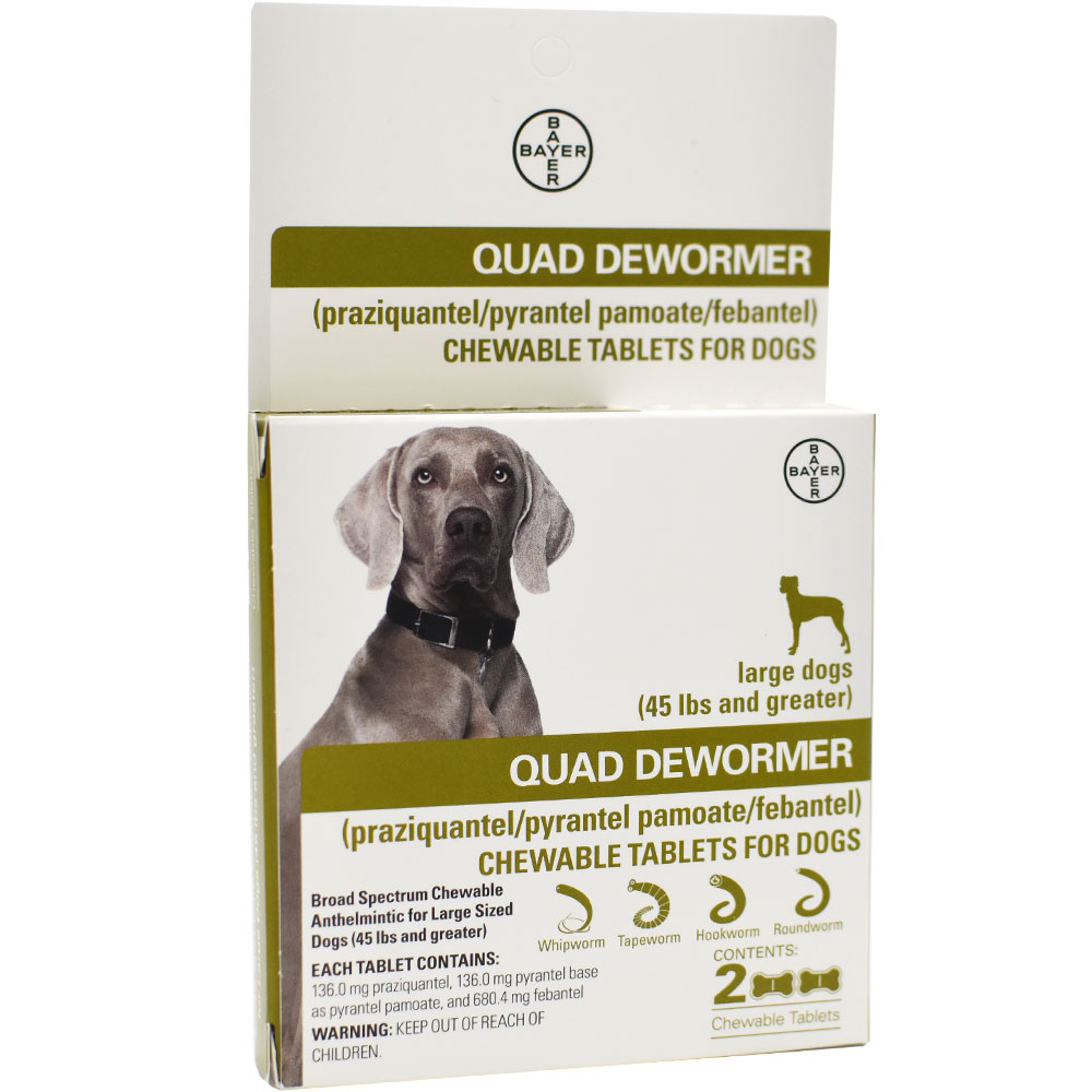 Quad Dewormer for Large Dogs (Over 45 lbs) - 2 Chewable Tablets im test