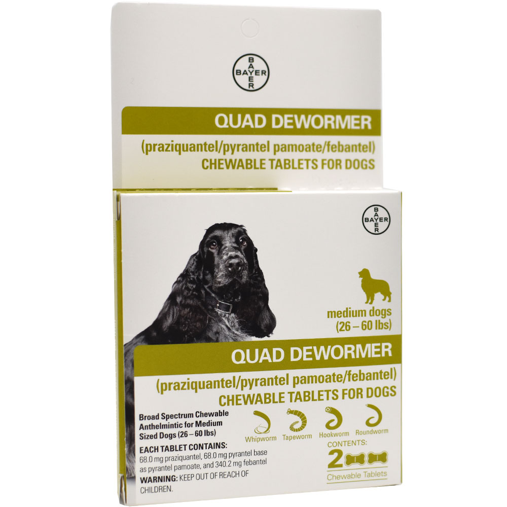 Quad Dewormer for Medium Dogs (26-60 lbs) - 2 Chewable Tablets im test
