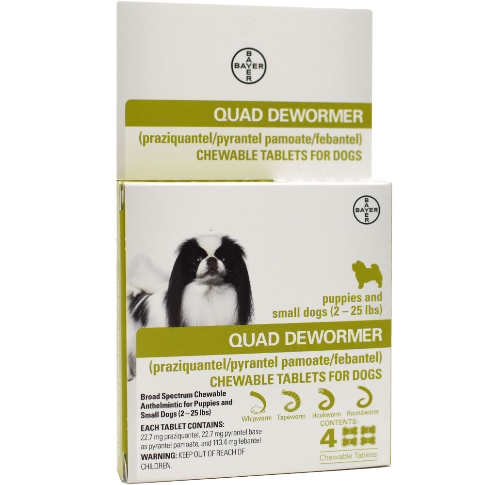 Quad Dewormer for Puppies & Small Dogs (2-25 lbs) - 4 Chewable Tablets im test