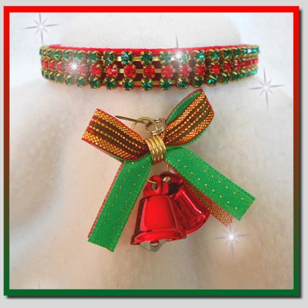 RHINESTONE-DOG-COLLARS-CHRISTMAS-BELLS-RED-VELVET-SMALL