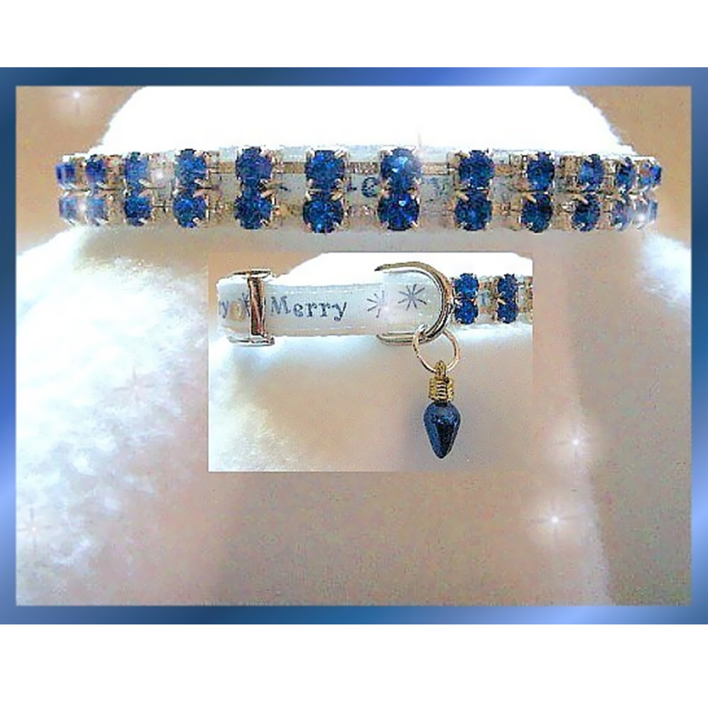 RHINESTONE-DOG-COLLARS-MERRY-IN-BLUE-MEDIUM