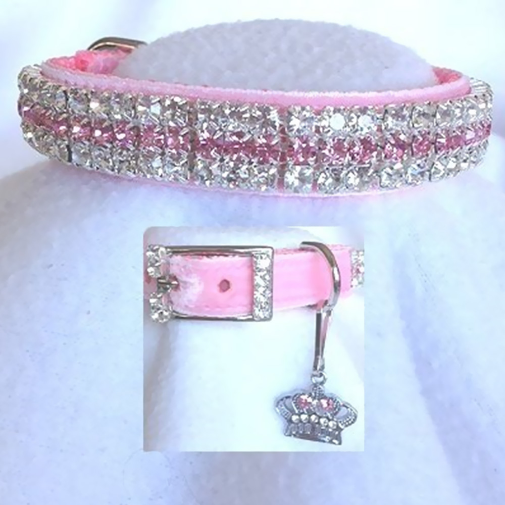 RHINESTONE-DOG-COLLARS-PRINCESS-IN-PINK-VELVET-189-MEDIUM