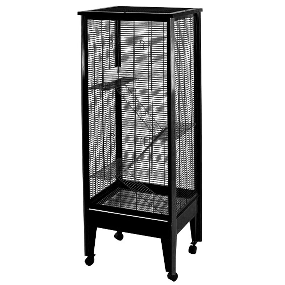 SMALL-ANIMAL-CAGE-ON-CASTERS-BLACK-PLATINUM-24X19