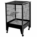 """Small Animal Cage on Casters - Black/Platinum (28""""x28""""x43"""") 4 Level"""
