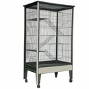 """Small Animal Cage on Casters - Platinum/Black (32""""x21""""x62"""") 4 Level"""