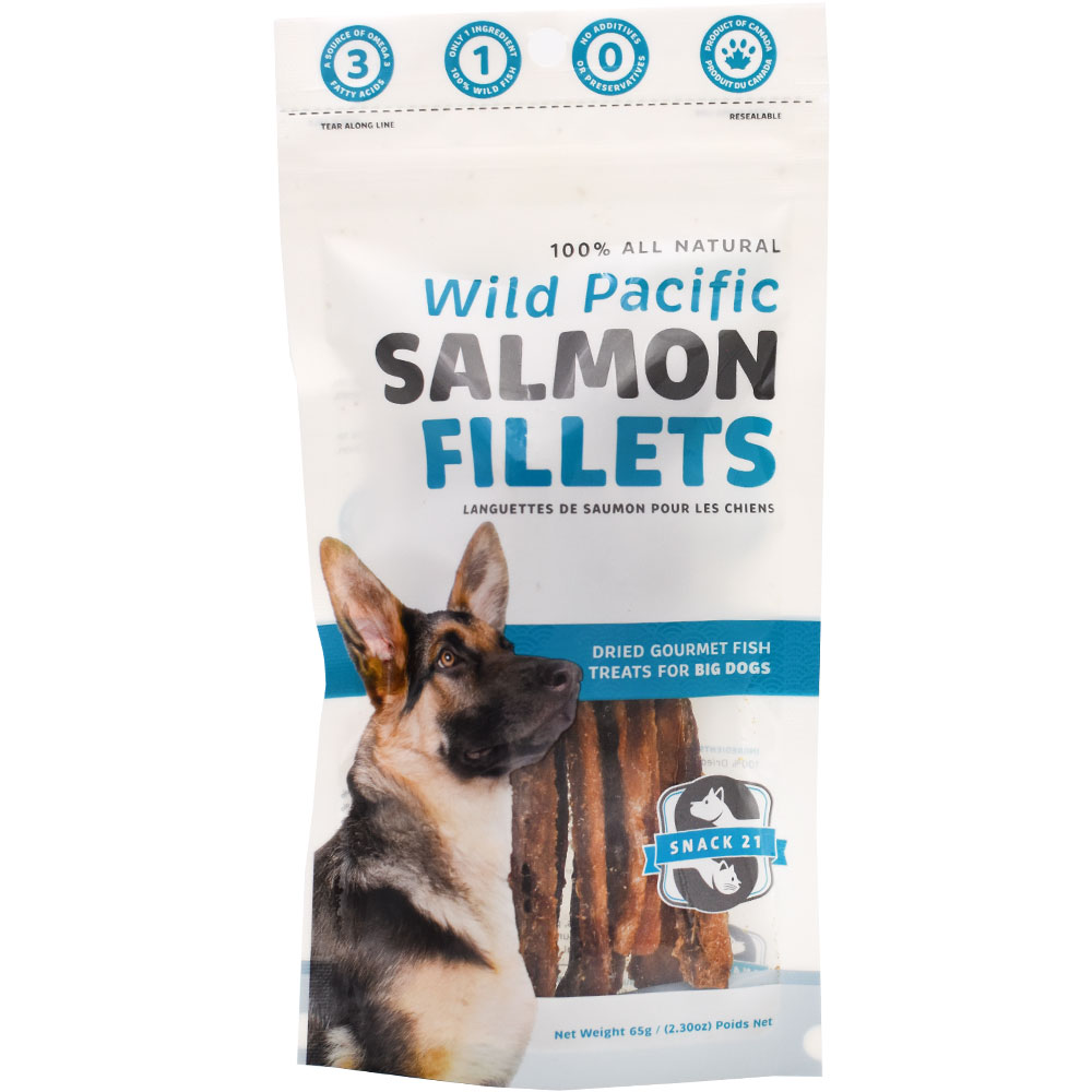 Snack 21 Wild Pacific Salmon Fillets for Big Dogs (65 g) im test