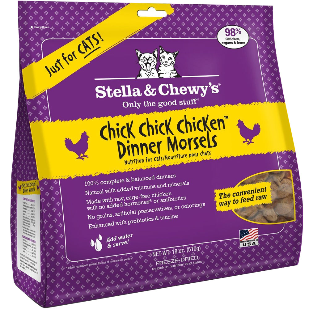 Image of Stella & Chewy's Freeze-Dried Chick, Chick, Chicken Dinner Morsels for Cats (18 oz)