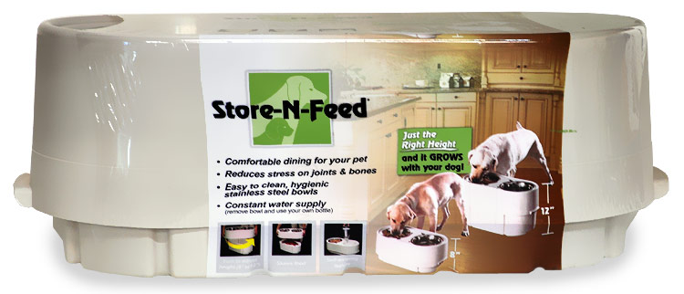 Image of Store-N-Feed Elevated Double-Diner Pet Feeder