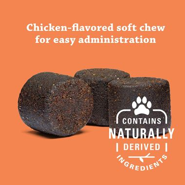 Three soft chews under quote reading chicken-flavored soft chew for easy administration