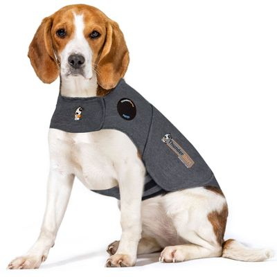 Boxer wearing ThunderShirt laying down on table in vet office above quote reading calms your dog at the vet and groomer