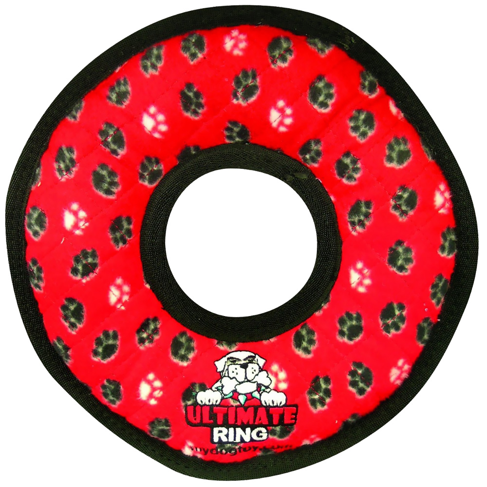 Tuffy's Ultimate Ring Red Paws Dog Toy im test