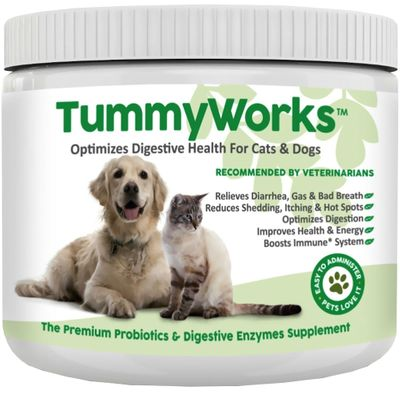 TummyWorks - Probiotics & Digestive Enzymes Supplements for Cats & Dogs (160 Scoops)