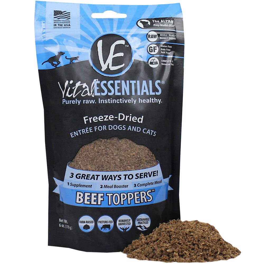 Image of Vital Essentials - Freeze-Dried Beef Toppers Food for Cats & Dogs (6 oz)
