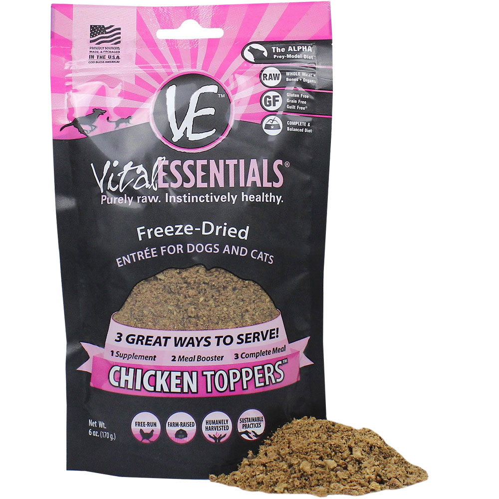 Image of Vital Essentials - Freeze-Dried Chicken Toppers Food for Cats & Dogs (6 oz)