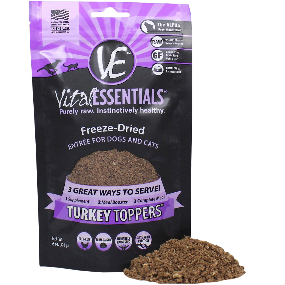 Image of Vital Essentials - Freeze-Dried Turkey Toppers Food for Cats & Dogs (6 oz)