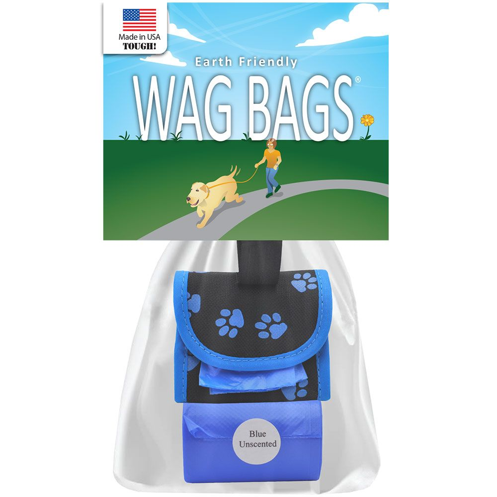 Wag Bags Soft Dispenser Paw Prints Blue 30