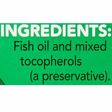 Ingredients are fish oil and mixed tocopherols which are a type of preservative