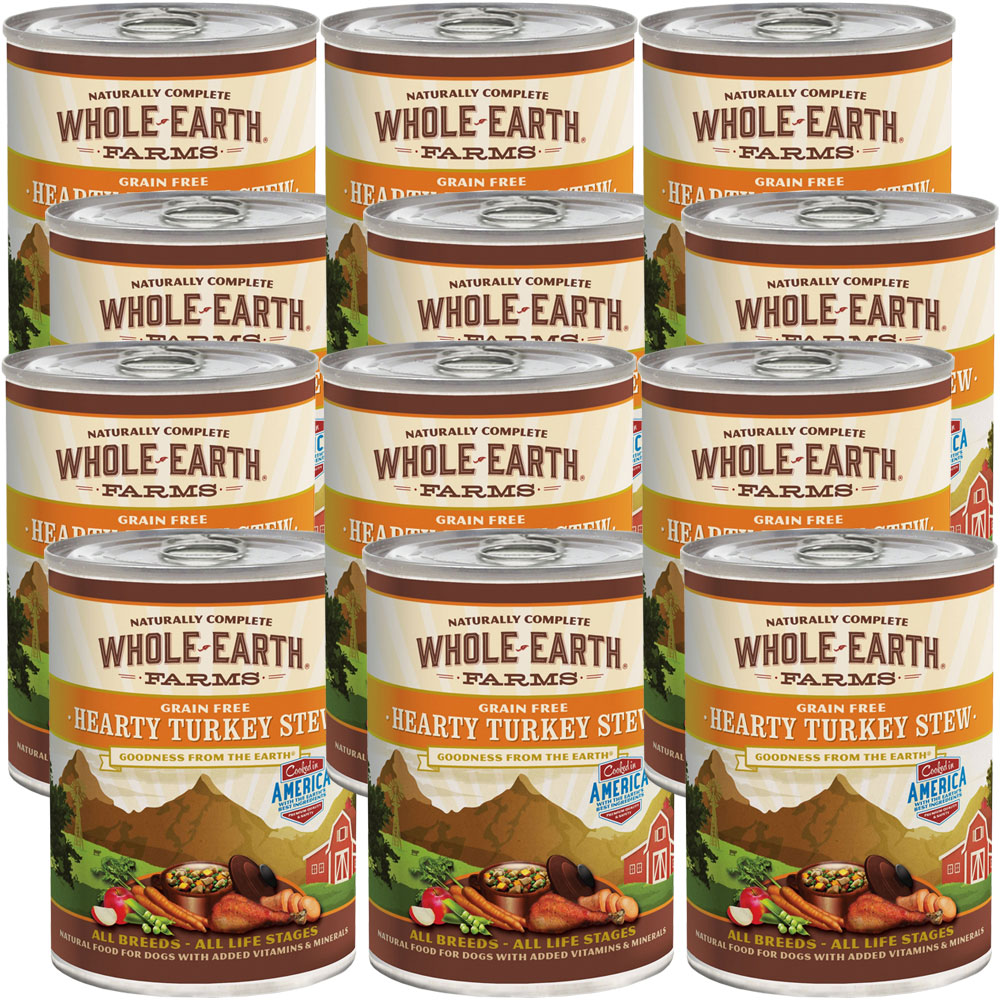 Best Canned Dog Food >> Whole Earth Farms Grain Free Hearty Turkey Stew Canned Dog Food 12x12 7 Oz