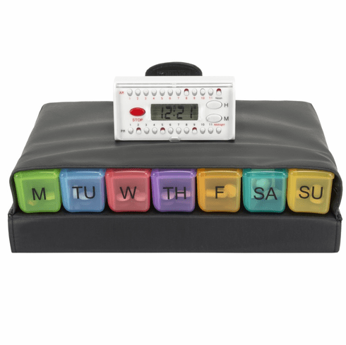 Large Pill Organizer with Reminder<br> 7 Day x 5 Compartments per Day
