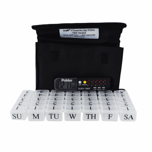 Small Pill Organizer with<br> Countdown Reminder<br> 7 Day x 5 Compartments per Day