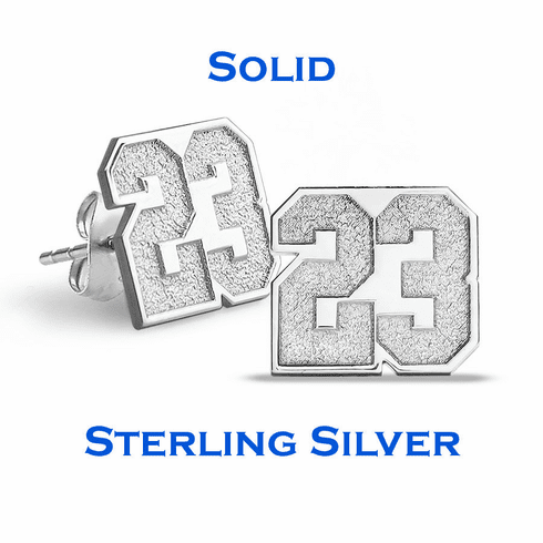 Sports Number Stud Earrings<br>GOLD or SILVER