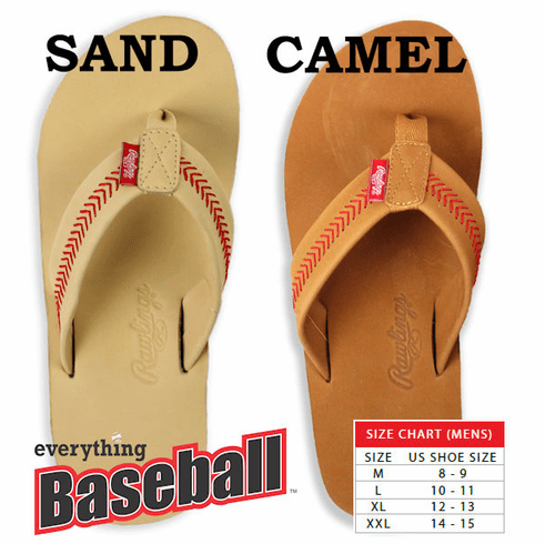 Rawlings Leather Men's Baseball Flip Flops<br>2 COLORS IN-STOCK NOW!