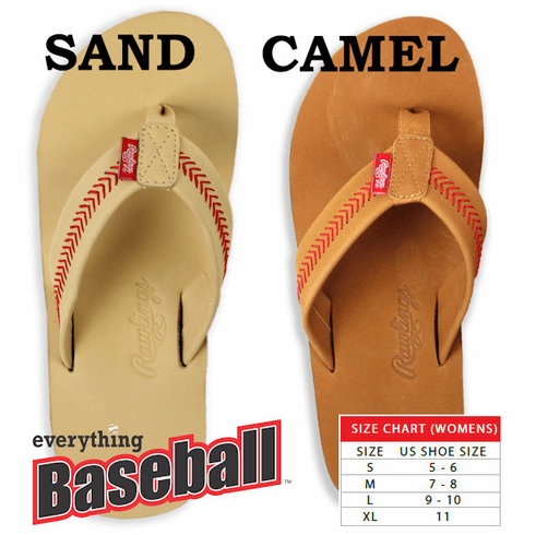 Rawlings Leather Women's Baseball Flip Flops<br>2 COLORS IN-STOCK NOW!