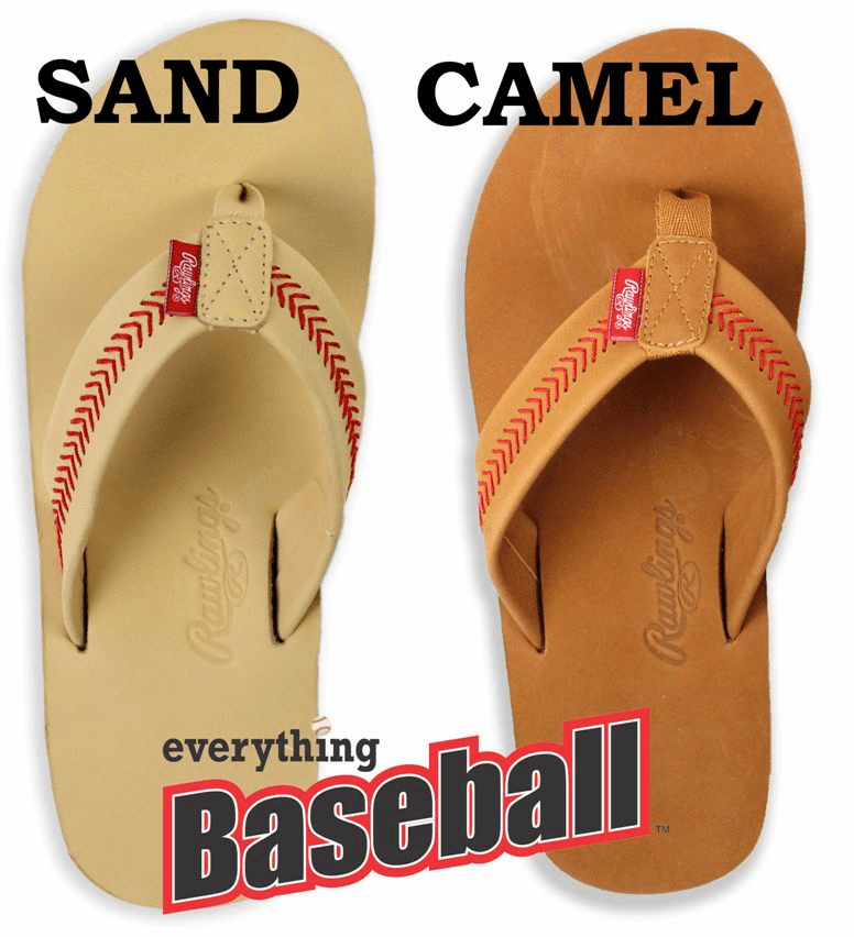 2019 Rawlings Leather Women's Baseball Flip Flops<br>2 COLORS IN-STOCK NOW!