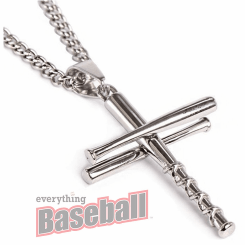"""3 Bats Baseball Cross Sterling Silver Pendant with 20"""" Chain<br>GOLD or SILVER"""