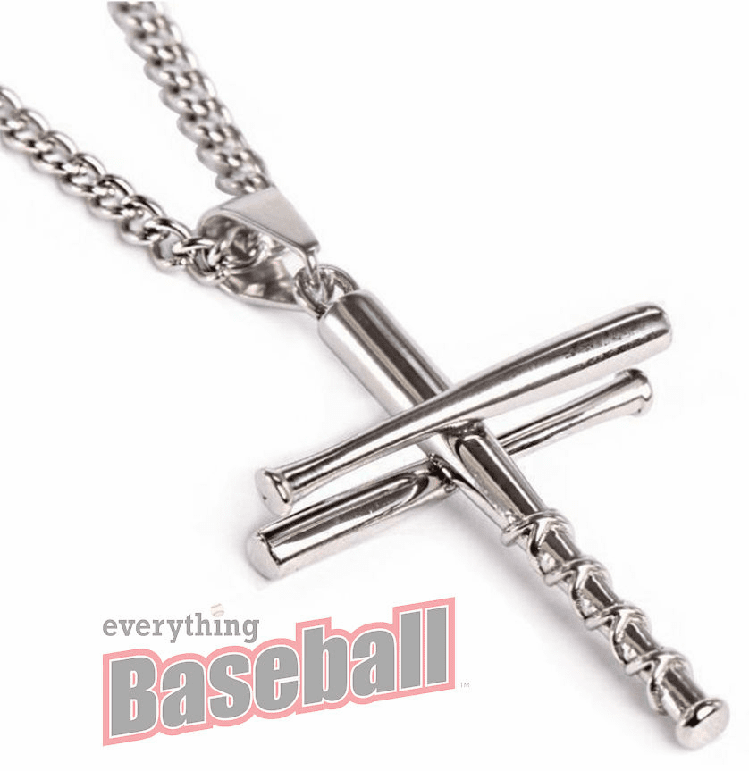 "3 Bats Baseball Cross Sterling Silver Pendant with 20"" Chain<br>GOLD or SILVER"