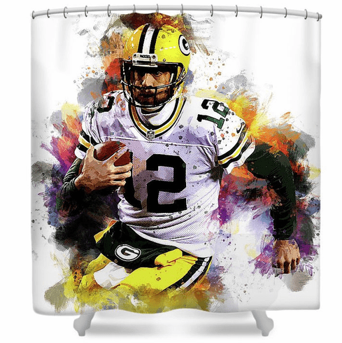 Aaron Rodgers Green Bay Packers Shower Curtain