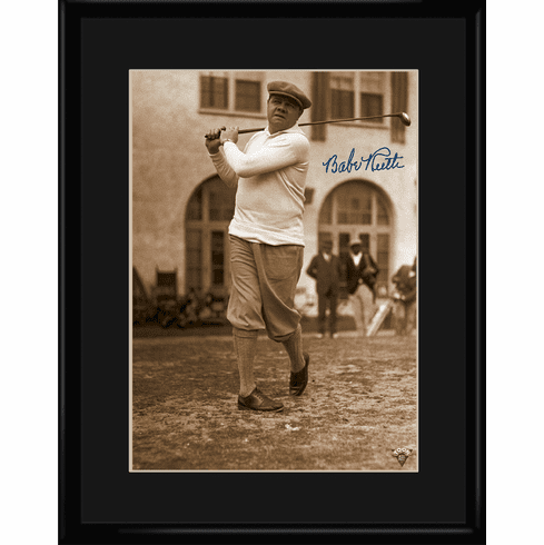Babe Ruth At the First Golf Tee 11x14 Framed Lithograph
