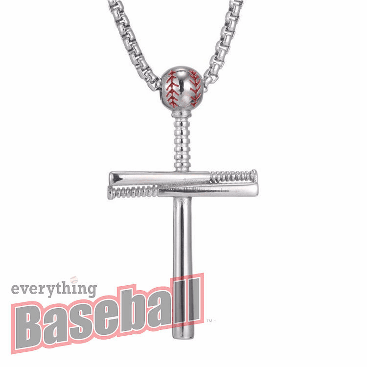 "Baseball and 3 Bats Cross Sterling Silver Pendant with 20"" Chain<br>GOLD or SILVER"