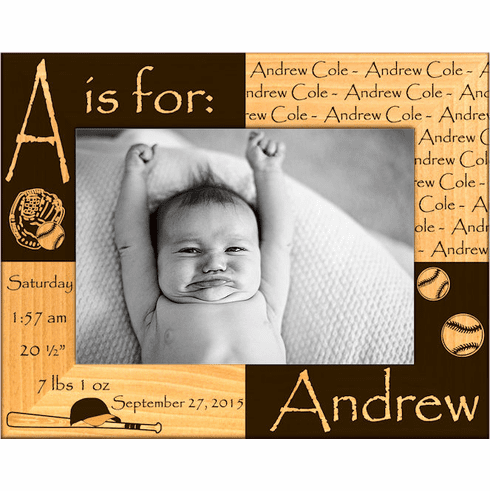 Baseball Baby Stats Personalized Photo Frame<br>3 SIZES!
