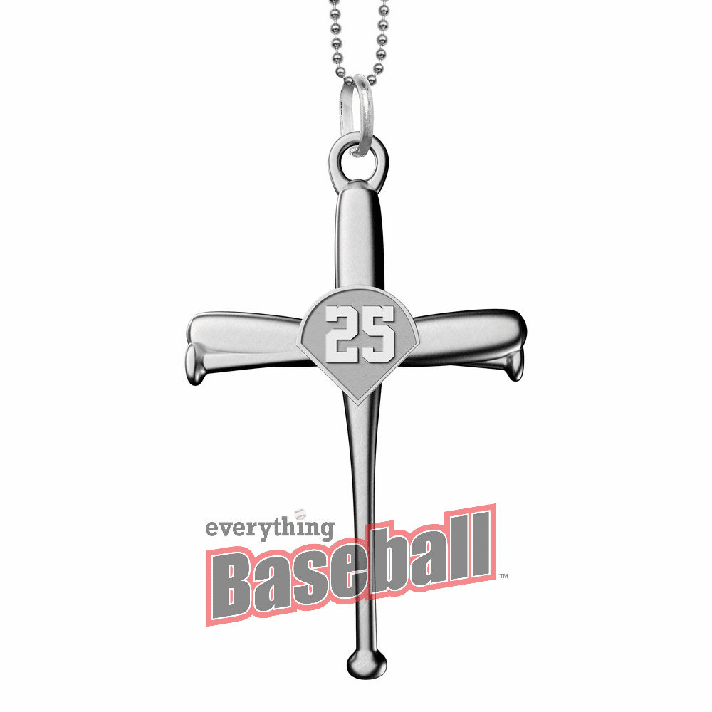 "Baseball Bat Cross Pendant with Number and 20"" Chain<br>GOLD or SILVER"