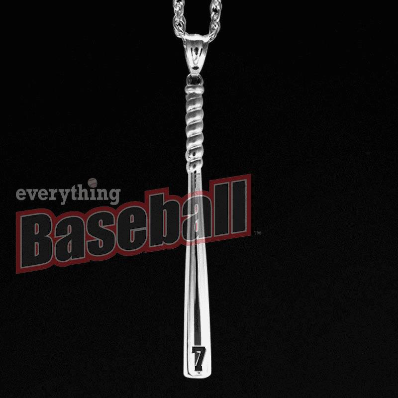 "Baseball Bat Pendant with Number and 18"" Chain<br>GOLD or SILVER"
