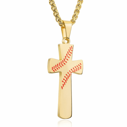 Baseball Cross Necklace Gold