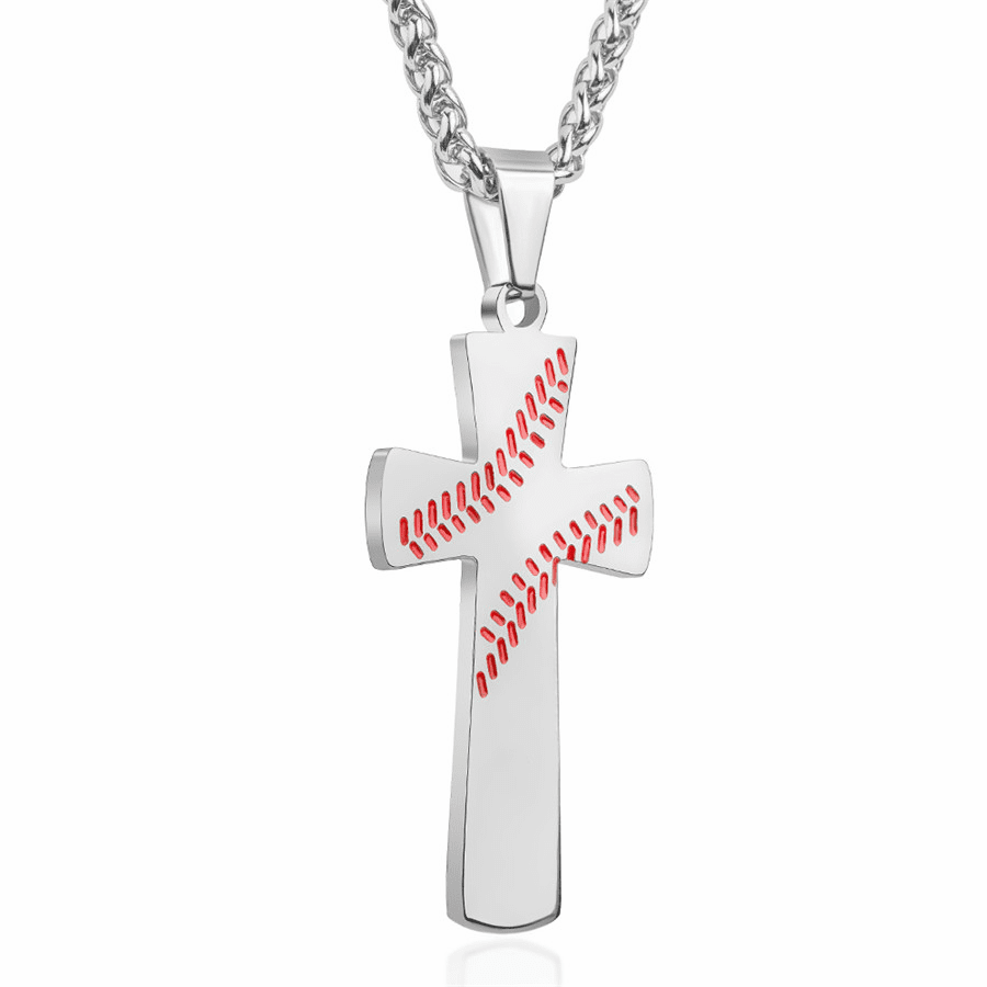 Baseball Cross Necklace - Silver
