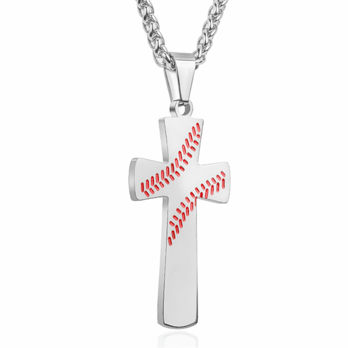 Baseball Cross Necklace - Silver<br>VERY LIMITED QUANTITIES!