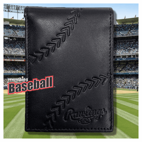 Baseball Embossed Black Leather Front Pocket Wallet by Rawlings