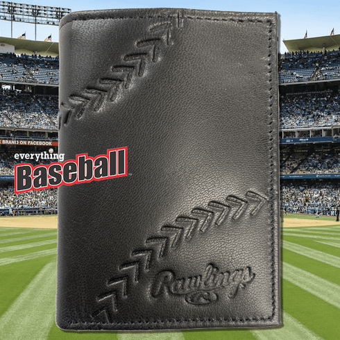 Baseball Embossed Black Leather Trifold Wallet by Rawlings