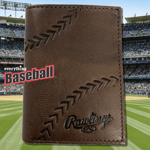 Baseball Embossed Brown Leather Trifold Wallet by Rawlings