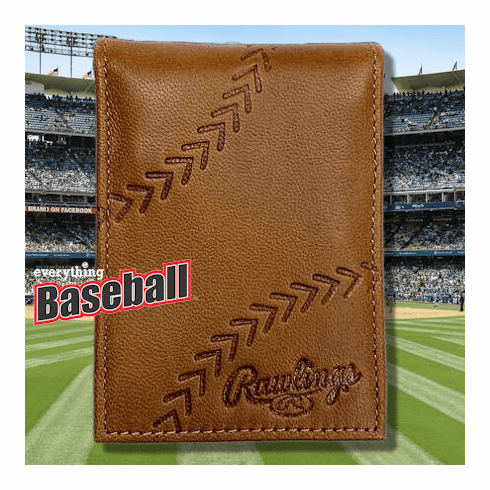 Baseball Embossed Tan Leather Front Pocket Wallet by Rawlings