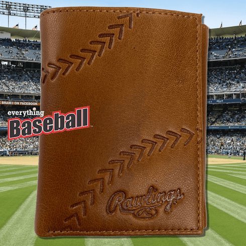 Baseball Embossed Tan Leather Trifold Wallet by Rawlings