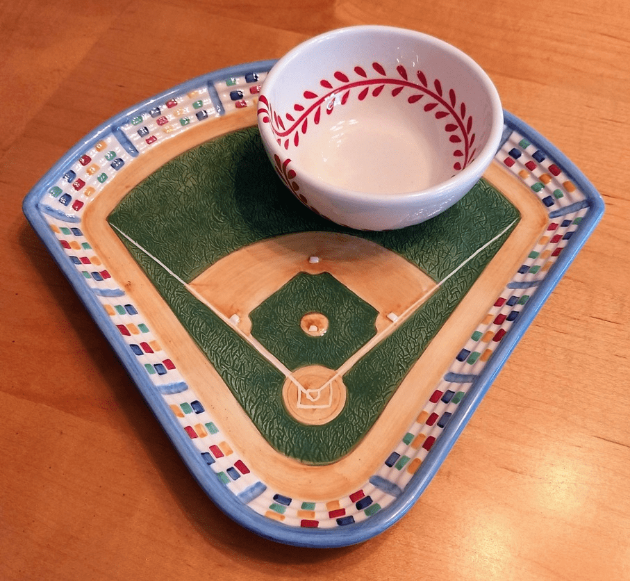 Baseball Field Ceramic Chip and Dip Snack Bowl Set<br>ONLY 1 SET LEFT!