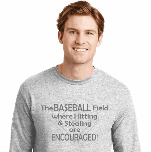 Baseball Field Hitting and Stealing are Encouraged T-Shirt<br>Choose Your Color<br>Youth Med to Adult 4X