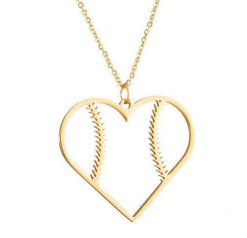 Baseball Heart Necklace<br>3 COLORS!
