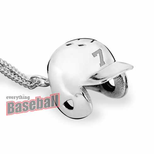 "Baseball Helmet Pendant with Number and 18"" Chain<br>GOLD or SILVER"