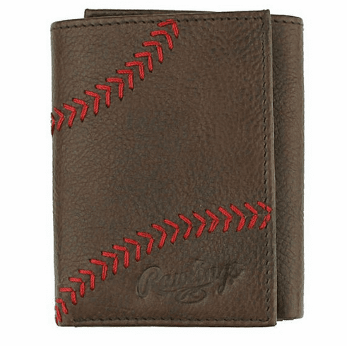Baseball Home Run Stitch Brown Leather Tri-Fold Wallet by Rawlings<br>RETIRED DESIGN<br>LIMITED QUANTITIES